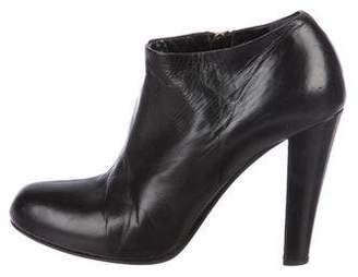Miu Miu Leather Round-Toe Booties