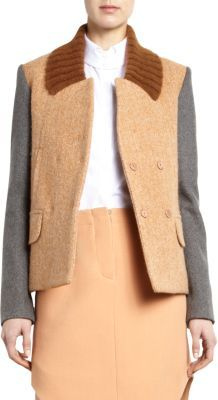 Carven Contrast Sleeve Ribbed Collar Jacket