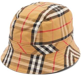 Burberry Vintage Check Cotton Canvas Bucket Hat - Womens - Yellow Print