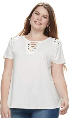 Laundry by Shelli Segal Plus Size French Grommet Lace-Up Top