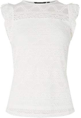 Dorothy Perkins Womens Ivory Frill Lace Shell Top