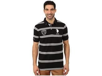U.S. Polo Assn. Black Mallet Striped Pique Polo Men's Short Sleeve Pullover