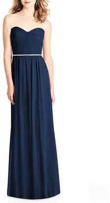 Jenny Packham Bridesmaids Strapless Sweetheart Lux Chiffon Gown Bridesmaid Dress w/ Pleated Bodice
