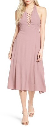 Women's Lush Lace-Up Halter Midi Dress $59 thestylecure.com