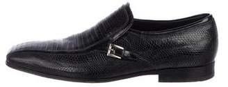 Prada Lizard Square-Toe Loafers