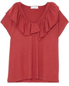 Brunello Cucinelli Ruffled Wool And Cashmere-Blend Top