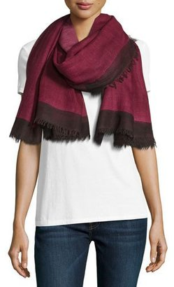 Salvatore Ferragamo Wool Colorblock Scarf, Pink/Black $770 thestylecure.com