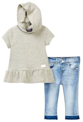 7 For All Mankind Ruffled Hoodie & Skinny Jeans Set (Baby Girls)