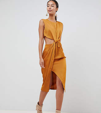 Asos Tall DESIGN Tall twist front sexy satin pencil dress with cut out
