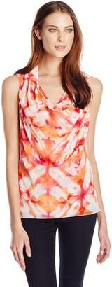 Calvin Klein Women's Sleeveless Drape Top with Collar