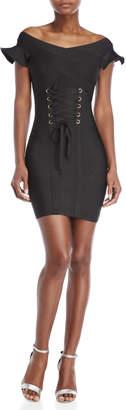 Wow Couture Black Corset Sheath Dress