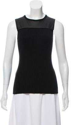 Reed Krakoff Cashmere & Merino Wool-Blend Leather-Accented Top