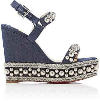 Christian Louboutin Women's Rondaclou Denim Platform-Wedge Sandals
