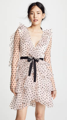 Philosophy di Lorenzo Serafini Tiered Ruffle Mesh Dot Dress