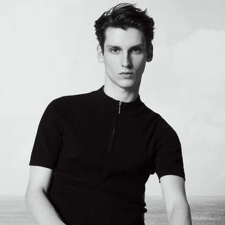 Sandro Short sleeved sweater with zip-up neck