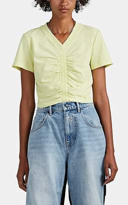 Alexander Wang Women's Ruched Cotton Crop T-Shirt - Yellow