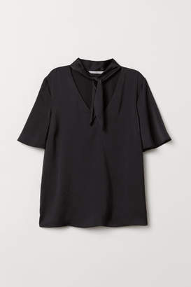 H&M Tie-top Blouse - Black