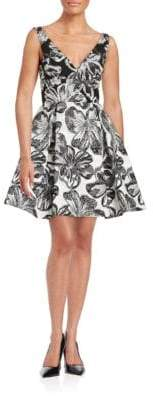 Vera Wang Floral Printed Fit-and-Flare Dress