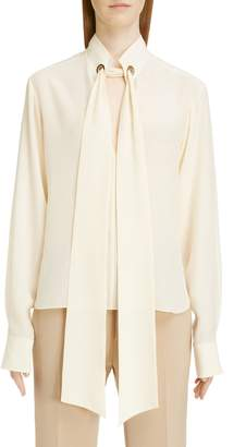 Chloé Ring Detail Tie Neck Silk Crepe de Chine Blouse