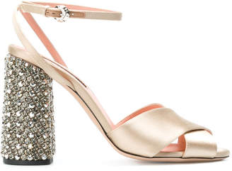 Rochas crystal heel sandals