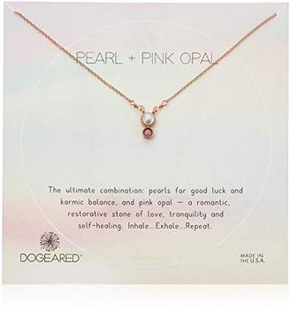 Dogeared Small Pearl And Pink Opal Duo-Bezel Chain Necklace