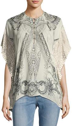 Roberto Cavalli Silk Tapestry Kaftan Blouse