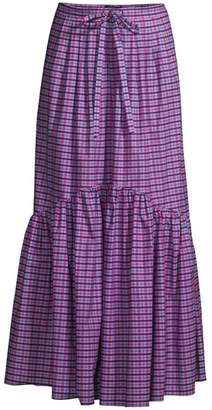 Max Mara Eloisa Plaid Cotton Long Skirt