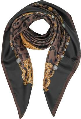 Roberto Cavalli Animal and Jewelry Print Pure Silk Square Scarf