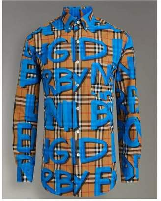 Burberry Graffiti Print Vintage Check Shirt 19479