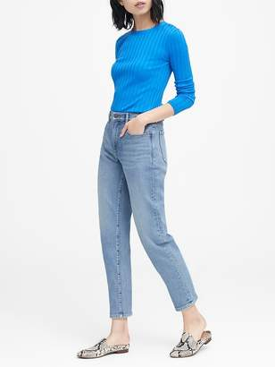 Banana Republic Petite High-Rise Straight-Fit Light Wash Ankle Jean