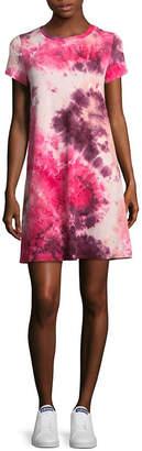 WALLFLOWER Wallflower Short Sleeve Tie Dye T-Shirt Dresses - Juniors