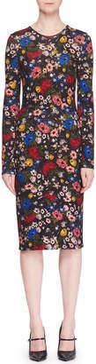 Erdem Eileen Crewneck Long-Sleeve Floral-Print Jersey Sheath Dress