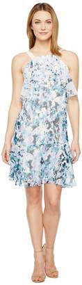Adrianna Papell Floral Cascade Printed Chiffon Tiered Sleeveless Shift Dress Women's Dress