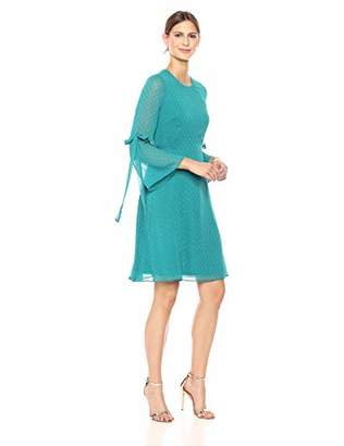 Nine West Women's A-line Tie Back Waist Dress with Bell Sleeve Detail