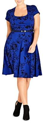 City Chic Plus Birdy Flock Belted Dress