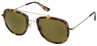KREWE Breton Polarized Aviator Sunglasses, Blonde Tortoise $295 thestylecure.com
