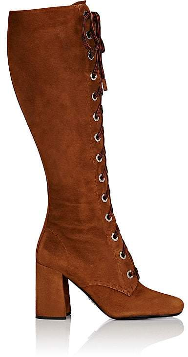 Prada Women's Suede Lace-Up Knee Boots