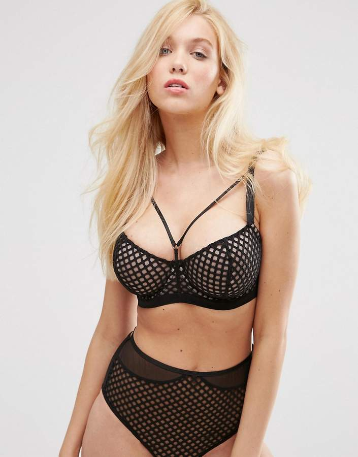 ASOS FULLER BUST Nancy Underwired Fishnet & Mesh Bra