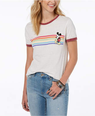 Freeze 24-7 Juniors' Mickey Mouse Stripe Graphic T-Shirt