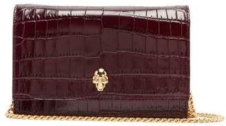 Alexander McQueen 3d Skull Crocodile Effect Leather Shoulder Bag - Womens - Burgundy