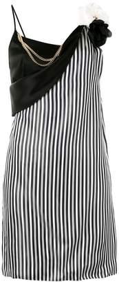 Lanvin striped floral brooch dress