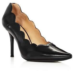 Chloé Women's Lauren Scalloped Leather High-Heel Pumps