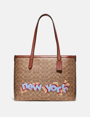 Coach Central Tote With Zip In Signature Canvas By Tyler Spangler