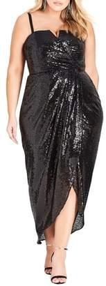 City Chic Siren Sequin Strapless Gown