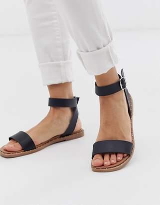 New Look studded edge detail sandal in black