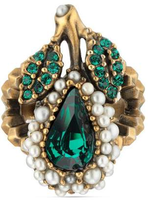 Gucci Crystal pear ring in metal