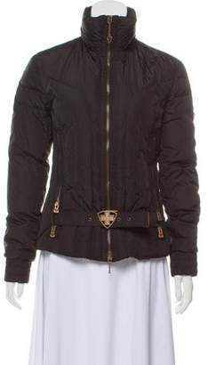 Post Card Belt-Accented Down Jacket