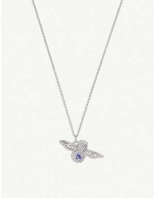 Olivia Burton Bejewelled bee silver and tanzanite crystal necklace