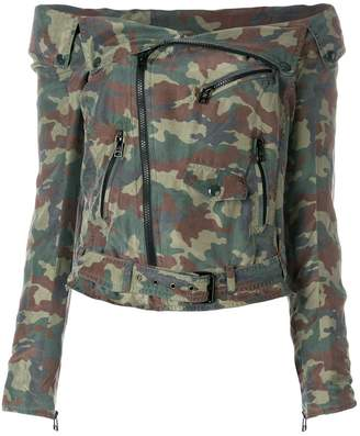 Faith Connexion off-the-shoulder camouflage jacket