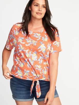 Old Navy Relaxed Floral Tie-Hem Plus-Size Top
